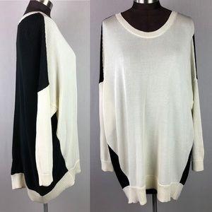 Ralph Lauren Black White High Low Sweater 3X NWT